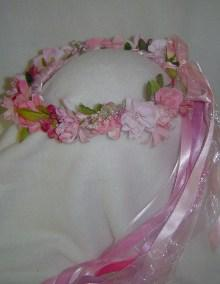 Pink Lindy Silk Flower Wreath - Wedding / Renaissance