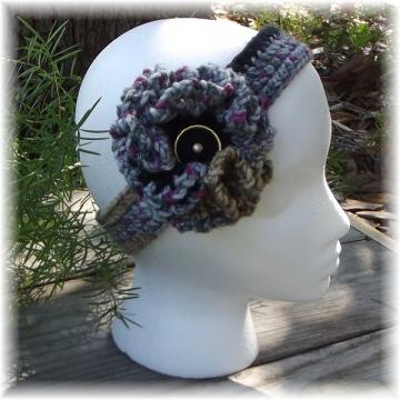 Flower Stripe Crocheted Head Band and Flower
