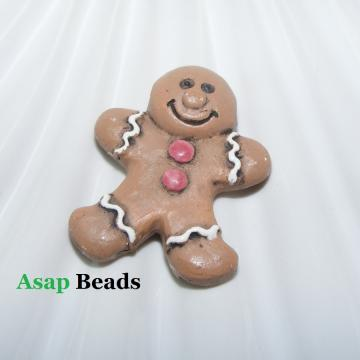 Gingerbread Man Pendant Ceramic Bead