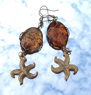 Starfish Earrings Vintage Glass Danglers