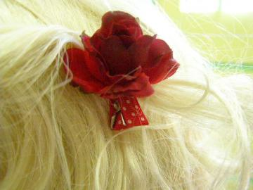 Red White Polka Dot Ribbon Barrette Alexia