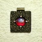 Handmade large square gold red black polymer clay focal pendant