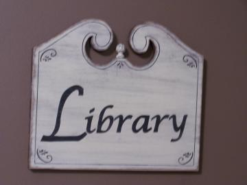 Large Library Sign, Classic Wooden Wall Hanging, Home or Office Decor, Shabby Chic Cottage, Distressed