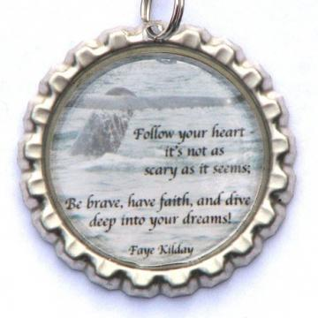 Whale's Tail and Follow Your Heart Poem Bottle Cap Pendant