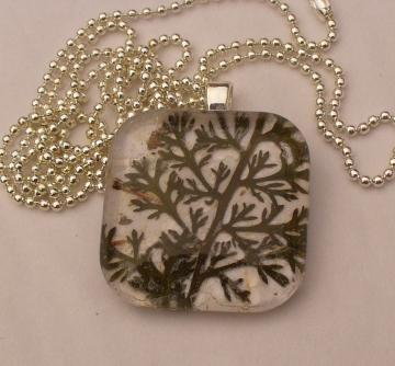 Glass Tile Pendant Pressed Leaves