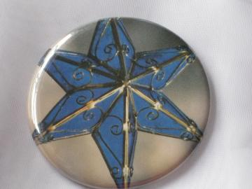 Pin Back Button -  Blue Christmas Star