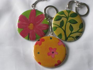 Keychains - Set of 3 - Bright Flowers