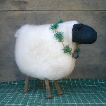 Primitive Folk Art Sheep Shelf Sitter