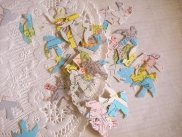Charming Vintage Atlas Map Paper Punched Love Birds Set of 50