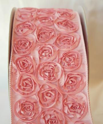 Pink Rosette wired ribbon