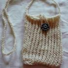 Small Knitted bag with button in light brown