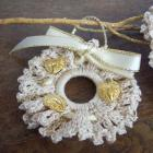 set of 3 Crochet Christmas Ornaments, Victorian Lace WReaths, Crochet Christmas Ornaments