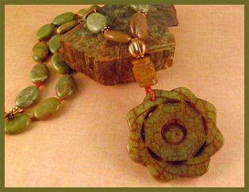 Soo Chow Jade Carved Flower with Mayflower by GracefulEarthJewelry :  asian influence necklace soo chow jade yin yang pendant mayflower jaspercopper