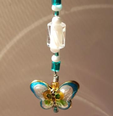 Fun Stuff - Turquoise/White Cloisonne Butterfly