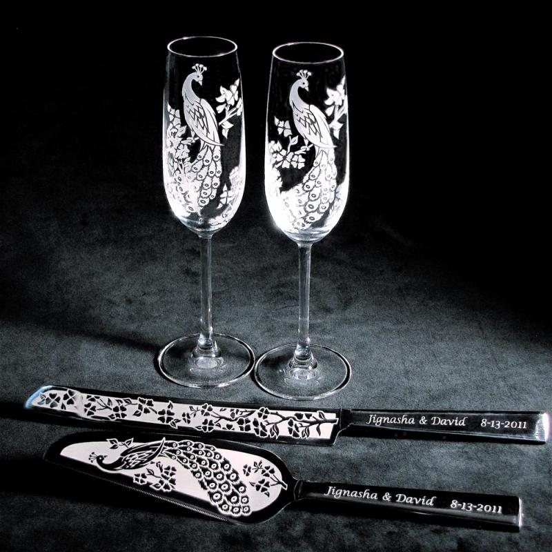 wedding peacock cake server set champagne glasses for peacock wedding