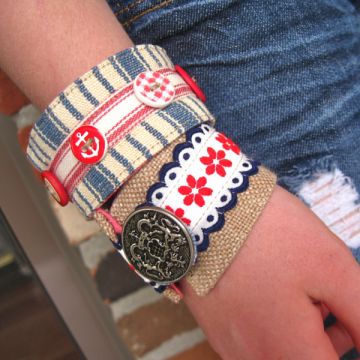 Anchors and linen cuff bracelet