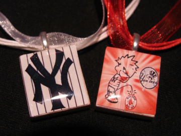 Yankees scrabble tile necklaces