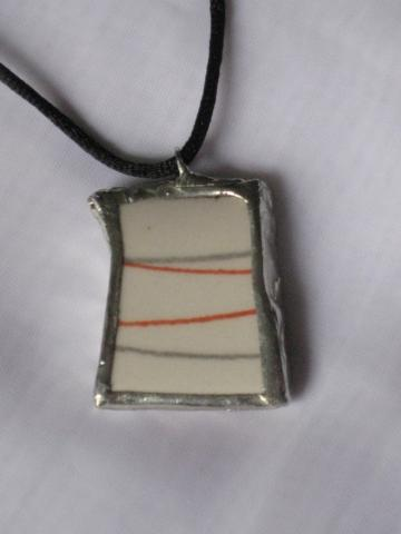 Broken China Pendant - Vintage Gray and Red Stripes