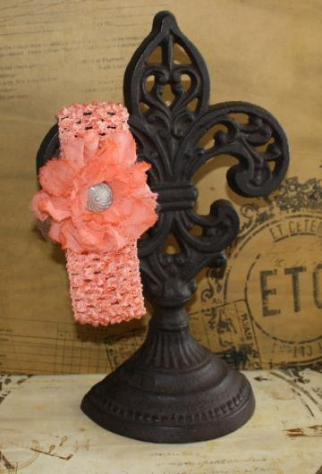 Shabby Chic Headband-Peach