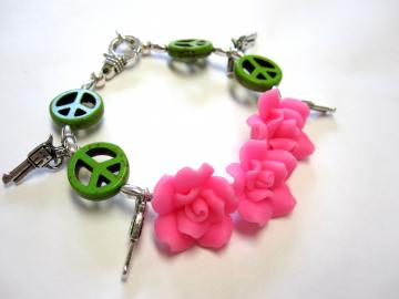 Guns And Roses Bracelet With Peace Signs
