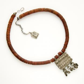 Antique Indian prayer amulet on African vinyl necklace