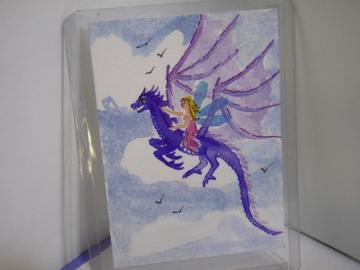 """Fairy Riding the Purple Pixie Dragon"" original ACEO watercolor painting"