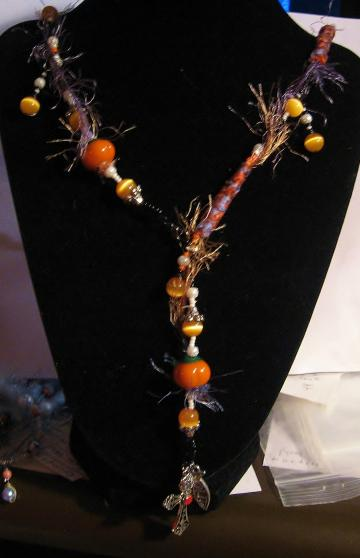Fall, Lamp-work Pumpkin, Cats Eye, Sterl Silver, What Would Jesus Do Necklace