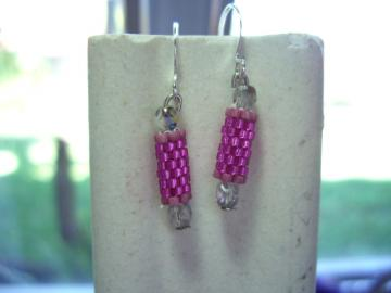 hot pink  beaded bead earrings