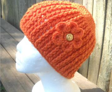 Pumpkin Spice Cabled Beanie with Flower YBO/IDO