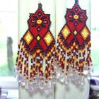 Fancy Dancer Eye Catching Glass Beaded Earrings