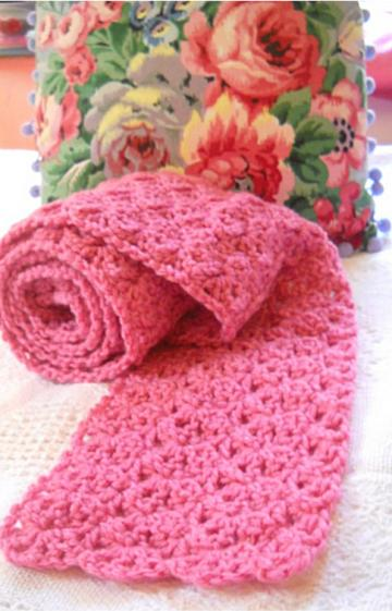 Crocheted Pink Scarf with Free Pink Headband