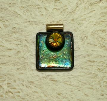 * Reserved for Renee* Handmade square polymer clay focal pendant with Swarovski Rivoli crystal