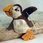 Raku Pottery Clay Puffin Ornament