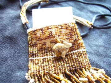 Howlin' Bag Beaded Necklace with Stone Coyote