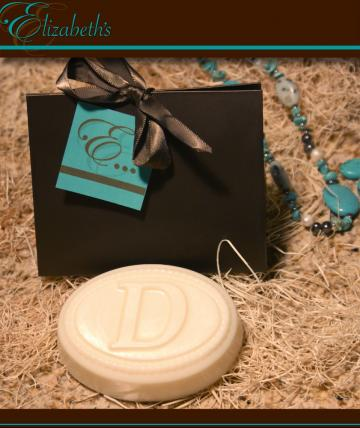 monogrammed  organic goat milk soap in a purse