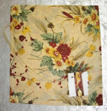 Flowers of Fall /  Fabric Tie Gift Bag / Large / For Any Occasion / With Gift Tag