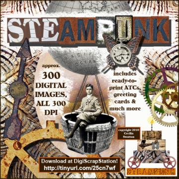 Steampunk CD-Length Digital Clipart Download -- ONLY at www.DigiScrapStation.com
