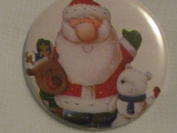 Pin Back Button - Santa and Friends