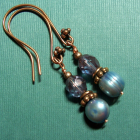 Grey Pearls, Crystals and Copper Earrings