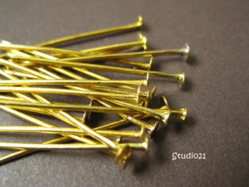 100 pcs 1 Inch Bright Gold Finish Headpin