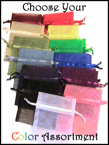 100 3x4 Organza Bags- You Choose Assortment