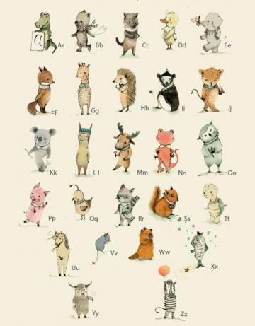 Alphabet Poster, Plenty of animals from A to Z, size: 8x11 inches