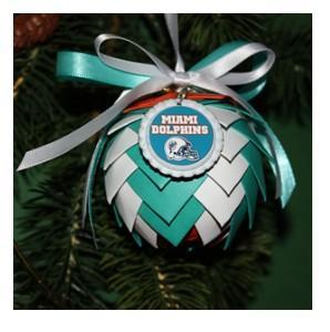 Miami Dolphins Paper Pine Cone Ornament