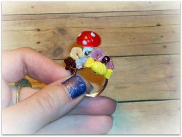 Marzipan Mushroom - Ring - Beloved Collection - Edibles Series - OOAK - Size 6.5
