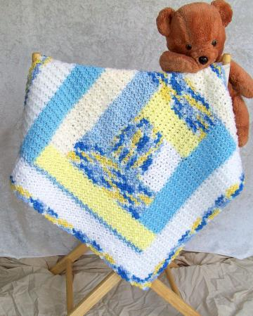 Little Boy's Baby Blue Blanket, crocheted