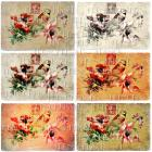 DIGITAL Collage Sheet Bird on RED Pink Flower Red French Postage Stamp