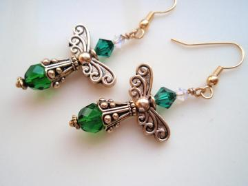 Gold and Emerald Angel Earrings
