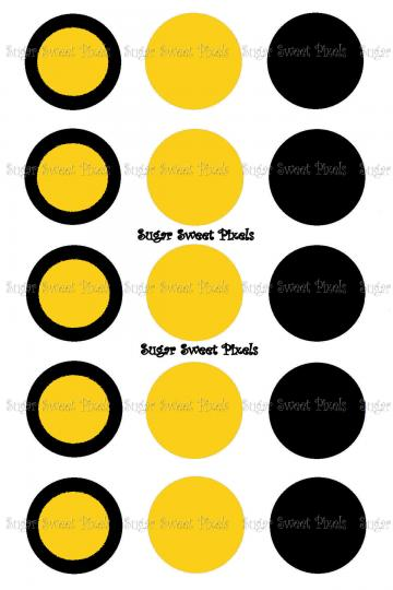 Black & yellow Gold  Blank 1 inch circle Bottlecap Images