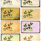Digital Sheet Christmas 8 Gift Tags FRENCH Script Holly Green Red Antique postcard Download