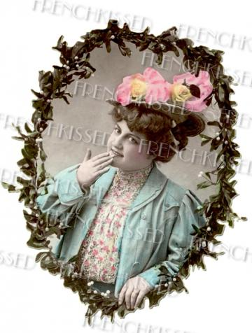 Plump Victorian Lady CHRISTMAS New Year Antique French postcard Pink HAT Mistletoe Wreath DIGITAL Scan